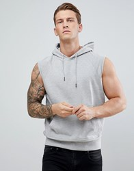 D Struct Sleeveless Hooded Sweat Grey