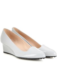 Tod's Leather Wedge Pumps Grey