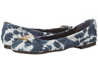Lauren Ralph Lauren Betty Navy Tyedye Leather Women's Flat Shoes Black