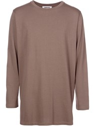 Monkey Time Slit Hem Longsleeved T Shirt Brown