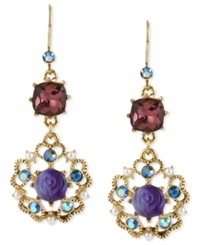 Betsey Johnson Antique Gold Tone Flower Medallion Crystal Drop Earrings
