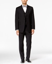 Tommy Hilfiger Black Textured Slim Fit Vested Suit