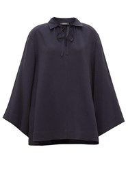 Joseph Fran Wide Sleeve Collared Silk Blouse Navy