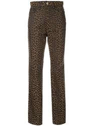 Fendi Vintage Leopard Pattern Long Pants Brown