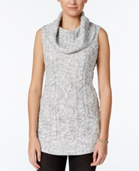 Freshman Juniors' Sleeveless Cowl Neck Tunic Sweater Light Heather Grey