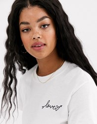 Miss Selfridge Tee With Mini Slogan In Black