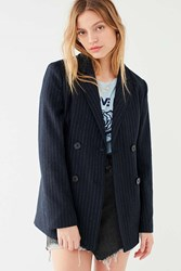 Urban Outfitters Uo Pinstripe Double Breasted Blazer Black Multi