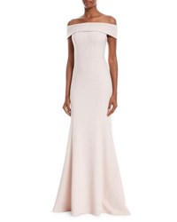 Theia Off The Shoulder Crepe Trumpet Gown Blush