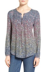 Lucky Brand Women's Pintuck Floral Print Top
