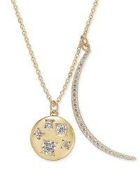 Danori 18K Gold Plated Pave Crescent And Crystal Disc Pendant Necklace 16 2 Extender Created For Macy's