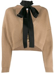 Red Valentino Cropped Cardigan With Tie Neck Neutrals