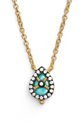 Freida Rothman 'Visionary' Small Teardrop Pendant Necklace Gunmetal Turquoise
