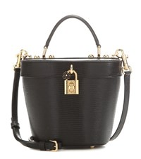 Dolce And Gabbana Embossed Leather Bucket Bag Black