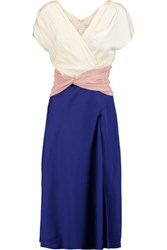Vionnet Color Block Pleated Silk Blend Dress Royal Blue