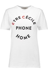 Etre Cecile Ec Phone Home Printed Cotton Jersey T Shirt White