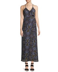 Dex Medallion Print Sleeveless Maxi Dress Blue