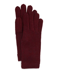 Neiman Marcus Honeycomb Knit Gloves Burgundy