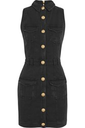 Balmain Distressed Denim Mini Dress Black