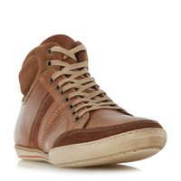 Dune Shandy Padded Collar High Top Trainers Tan
