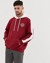 Bershka Hoodie With Chest Print In Red And White
