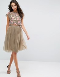 Needle And Thread Tulle Midi Skirt Khaki Green