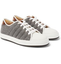Berluti Felt Polished Leather And Rubber Sneakers White