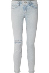 Current Elliott The Stiletto Distressed Mid Rise Skinny Jeans Light Denim