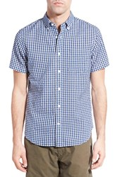 Men's Relwen Classic Fit Check Short Sleeve Sport Shirt Navy White Gingham