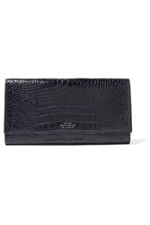 Smythson Mara Marshall Croc Effect Glossed Leather Travel Wallet Midnight Blue