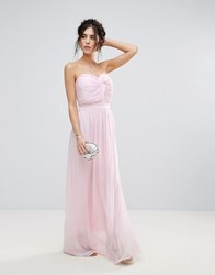 Club L Bridesmaid Chiffon Detail Knot Maxi Dress Pearl 121304 Tpg Pink