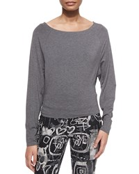 Donna Karan Bateau Neck Long Sleeve Top Flannel