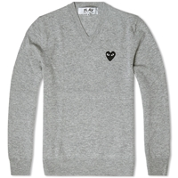 Comme Des Garcons Play V Neck Jumper Grey And Black