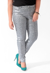 Forever 21 Metallic Animal Print Skinny Jeans