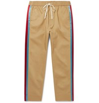 Gucci Tapered Cropped Striped Satin Trimmed Cotton Twill Trousers Neutrals