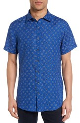 Rodd And Gunn Men's Westerham Regular Fit Print Linen Sport Shirt Ultramarine
