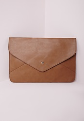 Missguided Envelope Clutch Tan Brown