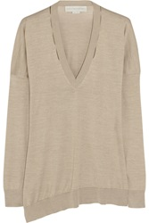 Stella Mccartney Oversized Silk And Cotton Blend Sweater Brown