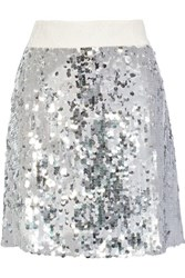 Dolce And Gabbana Sequined Tulle Mini Skirt Silver