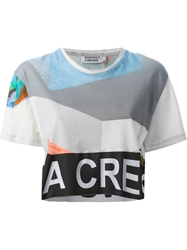 Andrea Crews Cropped Collage Print T Shirt White