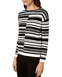 Karen Millen Striped Sweater Black Ivory