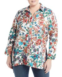 Neiman Marcus Floral Button Front Linen Tunic Green