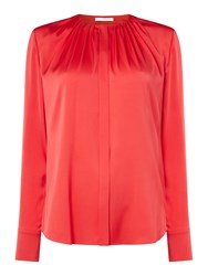 Hugo Boss Banora Silk Pleat Round Neck Blouse Pink