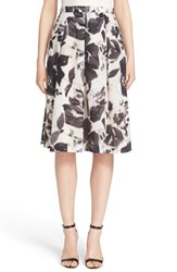 Women's St. John Collection Floral Print Cotton Blend Skirt