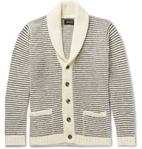 Howlin' Shawl Collar Striped Wool Cardigan White