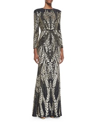 Jenny Packham Long Sleeve Bead Embroidered Gown