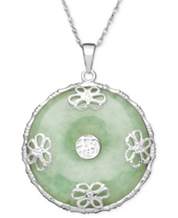 Macy's Sterling Silver Necklace Jade Circle Flower Overlay Pendant