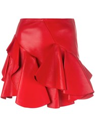 Alexander Mcqueen Ruffled Mini Skirt Red