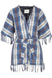 Sea Fringed Quilted Cotton Kimono Jacket Blue