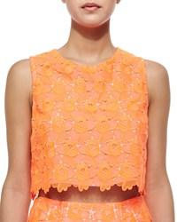A.L.C. Adriana Floral Lace Crop Top Neon Orange