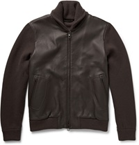 Loro Piana Shawl Collar Leather And Baby Cashmere Bomber Jacket Brown